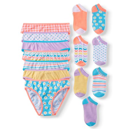 Wonder Nation Girls' 100% Cotton Bikini Panty and Socks, 14-Pack](Parties For Kids)