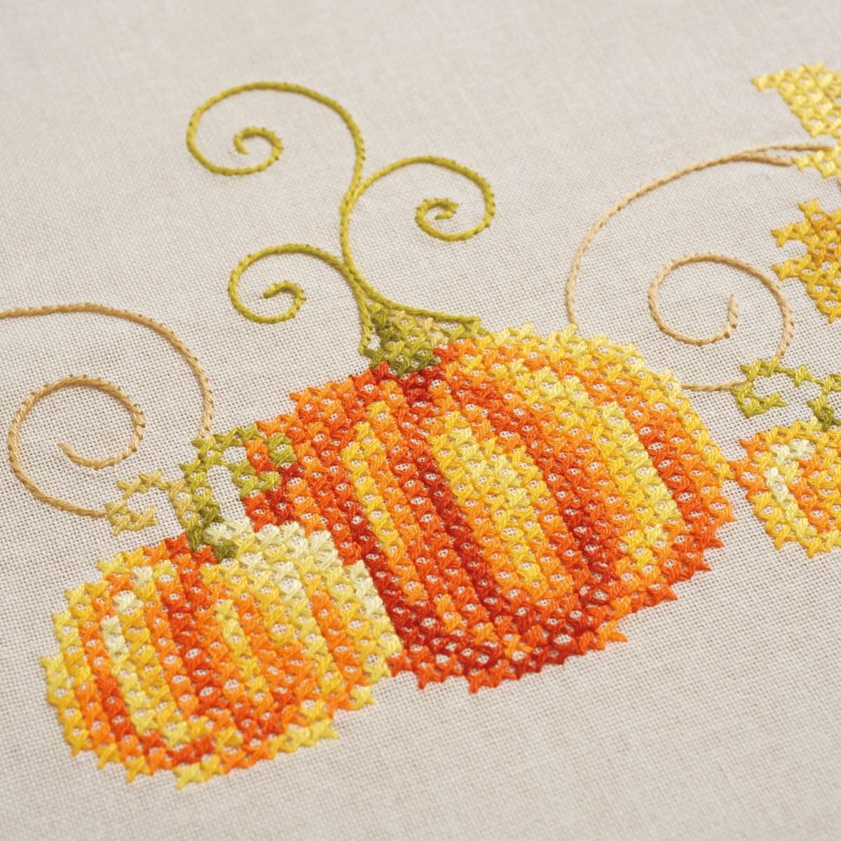 "Vervaco Tablecloth Stamped Cross Stitch Kit 32""X32""-Pumpkins"