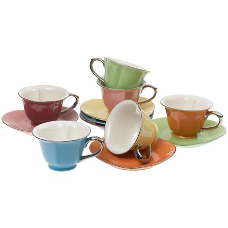 Brass Cup & Saucer Stand (Yedi Housewares CC169 Inside Out Heart 6.5 Ounce Cups and Saucers, (Set of 6) )