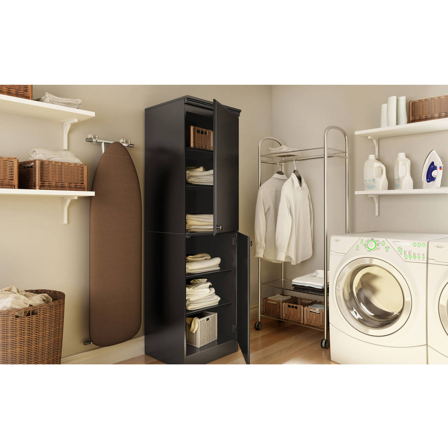 South Shore Narrow Storage Cabinet, Multiple Finishes