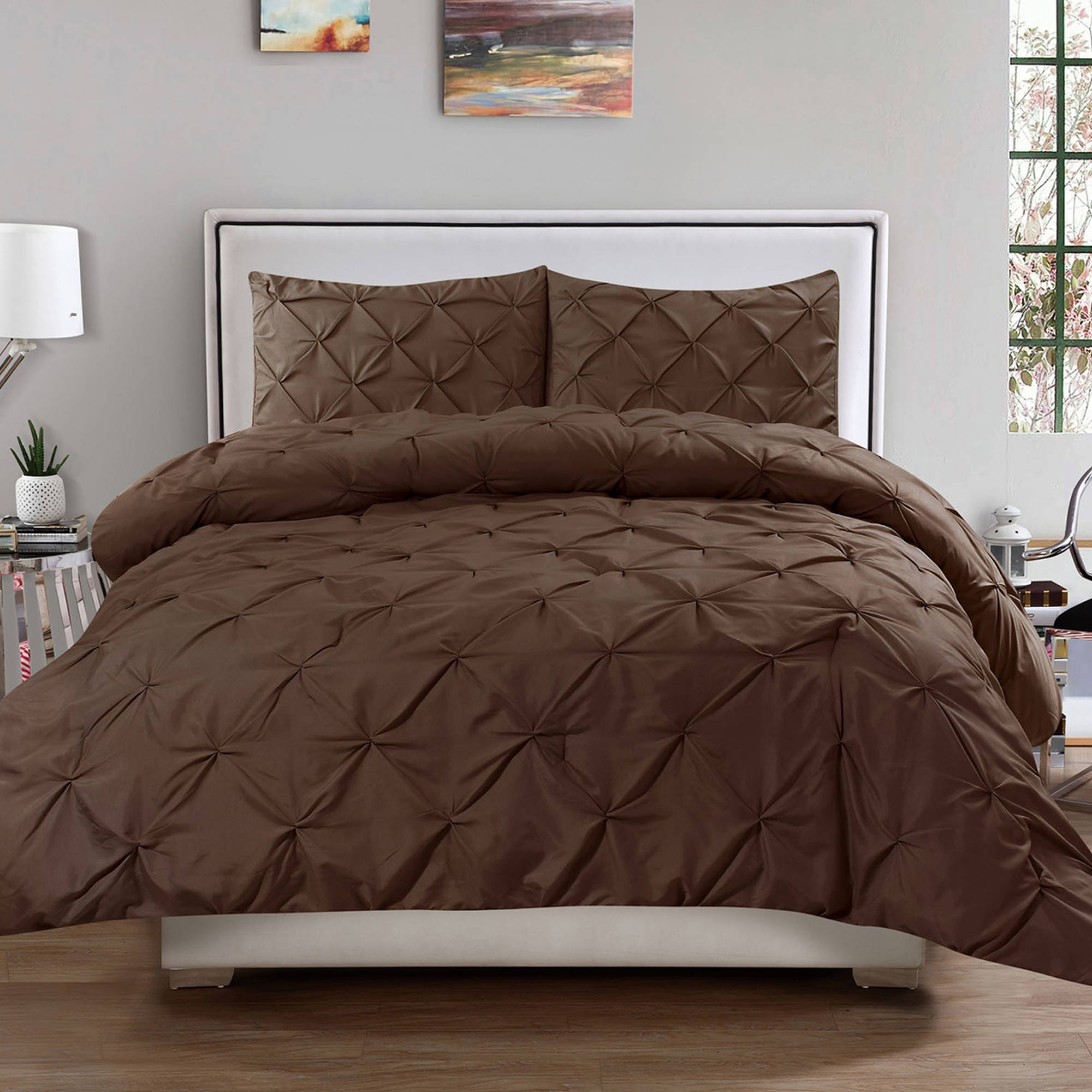 Hudson 3-Piece Pinch Pintucked Pintuck Comforter and Sham Set