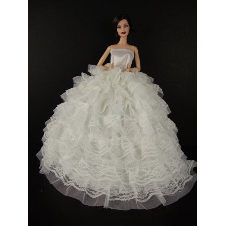 Barbie Strapless Gown - Beautiful White Gown with Tons of Ruffles Ball Gown Made to Fit the Barbie Doll, Handcrafted Especially for Olivia's Doll Closet to fit the.., By Olivia's Doll Closet