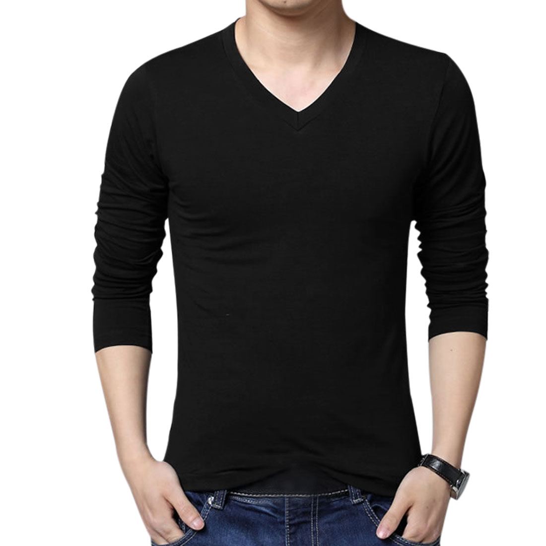Men's V Neck Pullover Long Sleeve Spring Fall T-Shirt (Size L / 44)