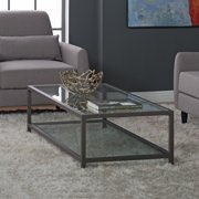 """Studio Designs Home Camber 2-Tier Modern 54"""" Wide Rectangle Coffee Table in Pewter"""