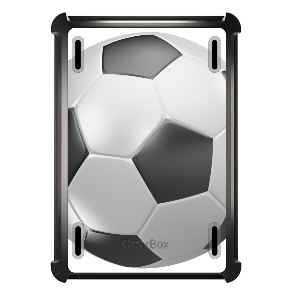 CUSTOM Black OtterBox Defender Series Case for Apple iPad Mini 4 - Soccer Ball 3D