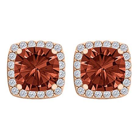 Square Garnet and CZ Fashion Halo Stud Earrings Vermeil - image 1 de 2