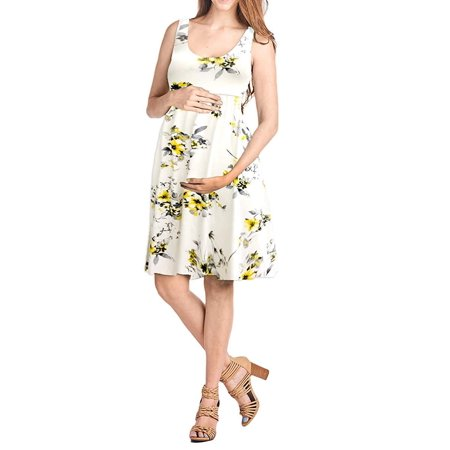 Beachcoco Women's Maternity Knee Length Printed Tank Dress (L, Multi 05 - Multi Length