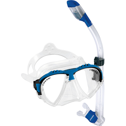Click here to buy Cressi Matrix Mask and Dry Snorkel Combo (Blue) by Cressi Sub.