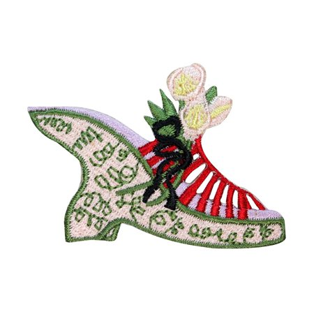 Embroidered Wedge - ID 8535 Flower Wedge Sandal Patch Heel Shoe Fashion Embroidered Iron On Applique