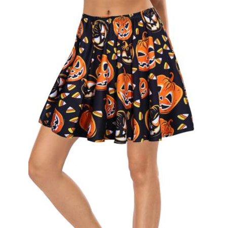 Fancyleo Women's Elastic Waist Cute Pumpkin Print Flared Mini Skirt Black S](Cute Squirt)