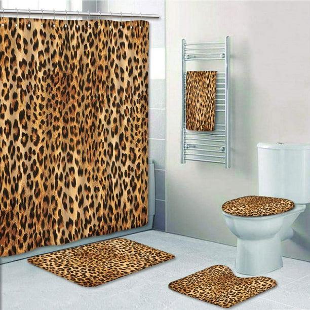 Leopard Rose Bathroom Rug Set Shower Curtain Bath Mat Non-Slip Toilet Lid Cover
