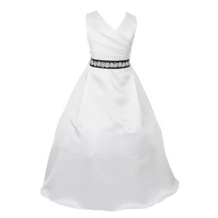 Girls Ivory Stone Accented Ribbon Sash Bridal Junior Bridesmaid