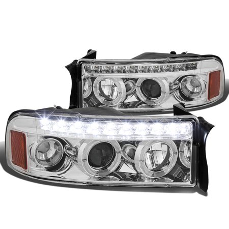For 94-01 Dodge Ram LED DRL Strip Dual Halo Ring Projector Headlight Chrome Housing Amber Corner Headlamp 95 96 97 98 99 00 1500 2500 3500