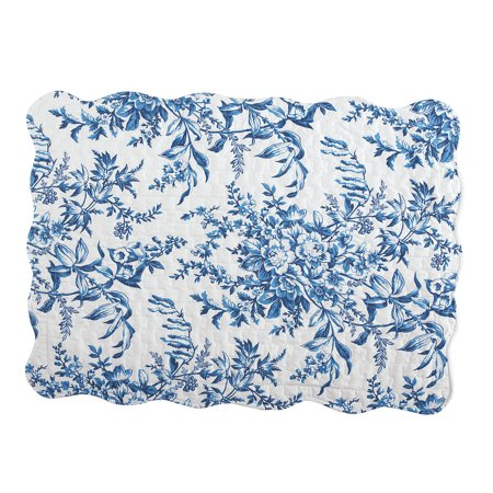 Quilted Pillow Sham in Leafy Floral Garden with Scalloped Edges, Sham, Blue