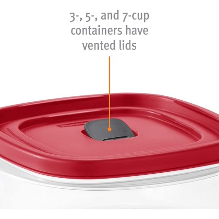 Rubbermaid Easy Find Vented Lid Food Storage Containers, 7 Cup