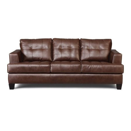 Bowery Hill Leather Contemporary Tufted Sofa in Dark Brown - Walmart.com