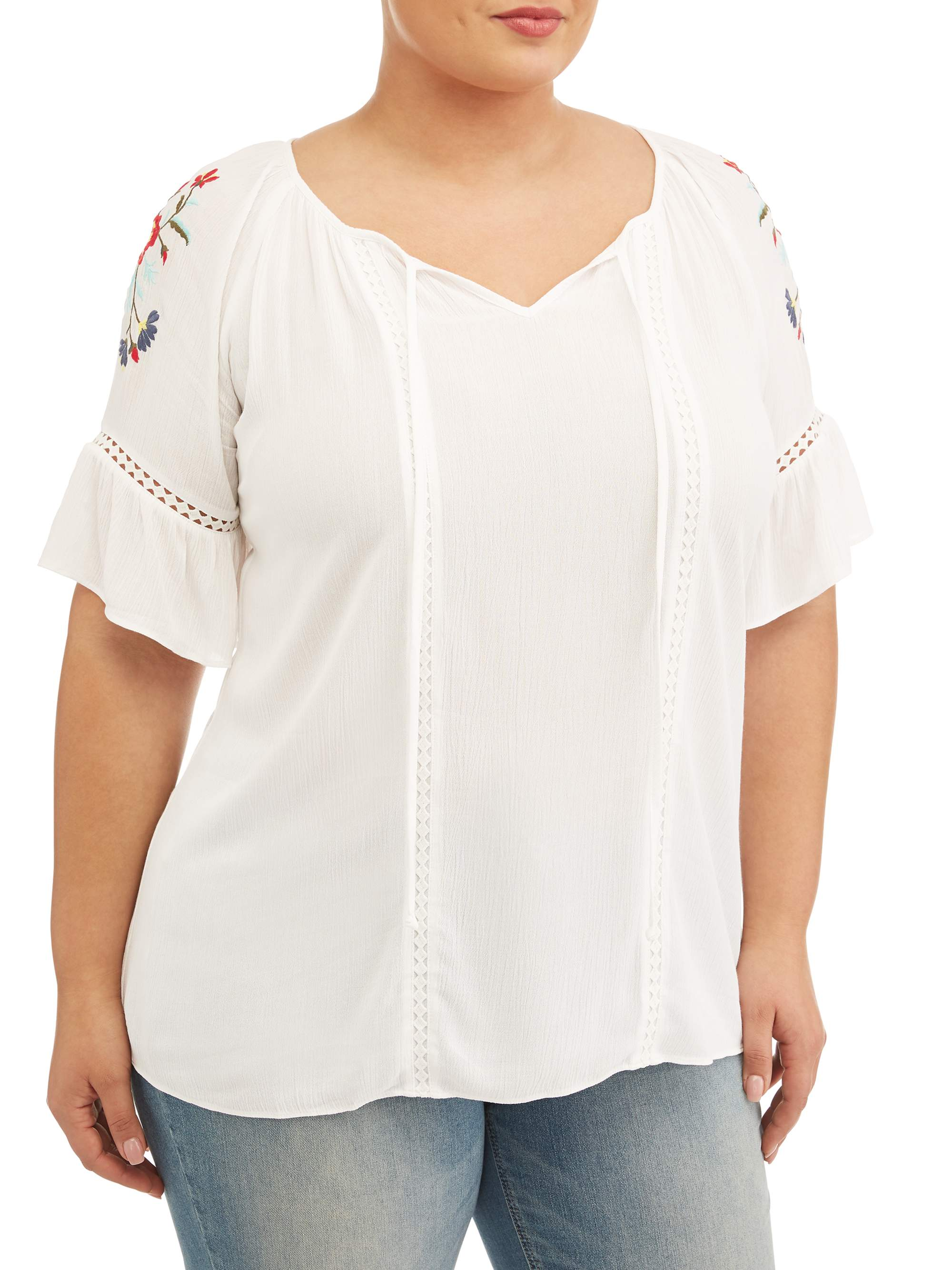 Women's Plus Size Embroidered Peasant Top