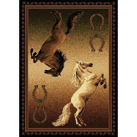 Pony Turnout Rugs (Designer Home Epoch Area Rugs - 910-05850 Novelty Black Ponies Horses Horseshoe Cowboy Rug 5' 3