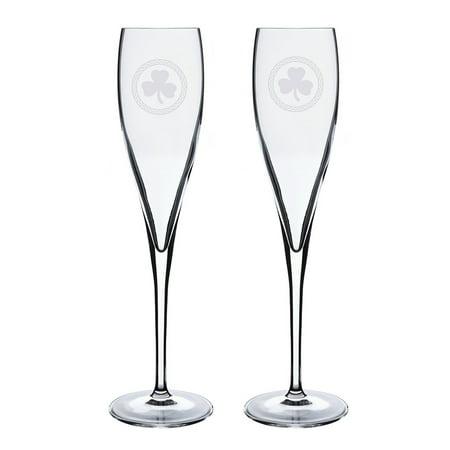 Shamrock Celtic Logo Luigi Bormioli 6 oz Titanium Toast Glass - Set of 2 ()