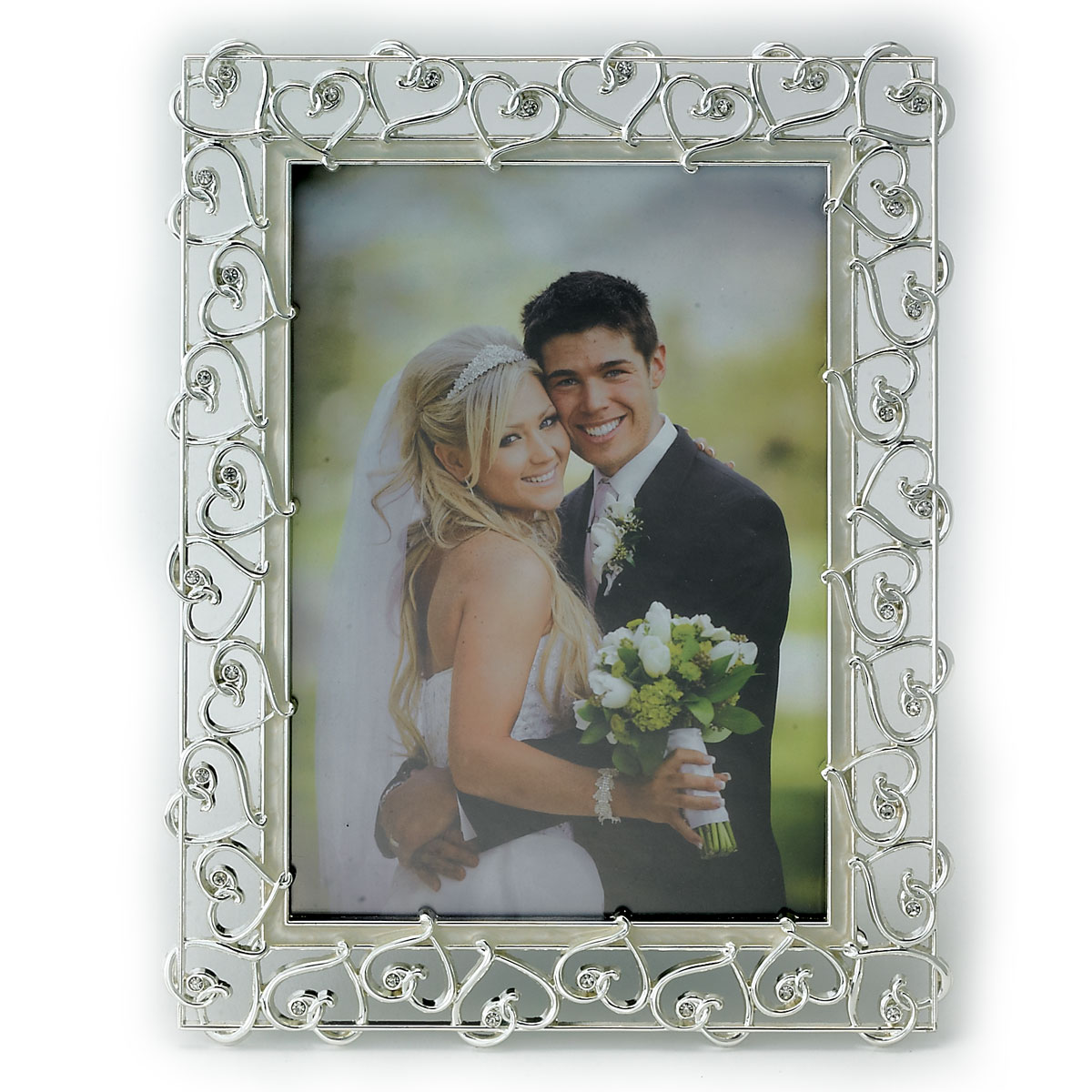 5x7 Silver Plated Metal Picture Frame Open Heart Design with Crystals and Ivory Enamel by Lawrence Frames