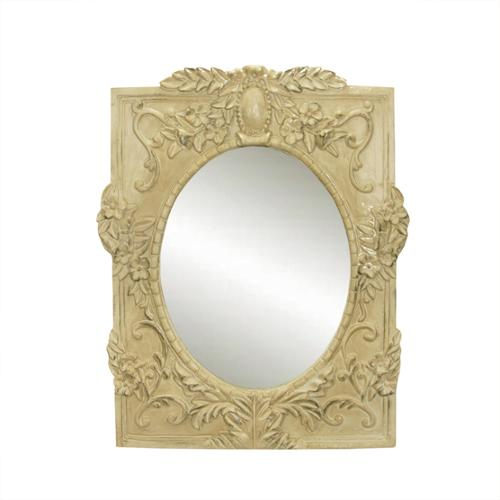 """11"""" Vintage Rose Victorian Style Distressed Cream Decorative Floral Oval Wall Mirror"""
