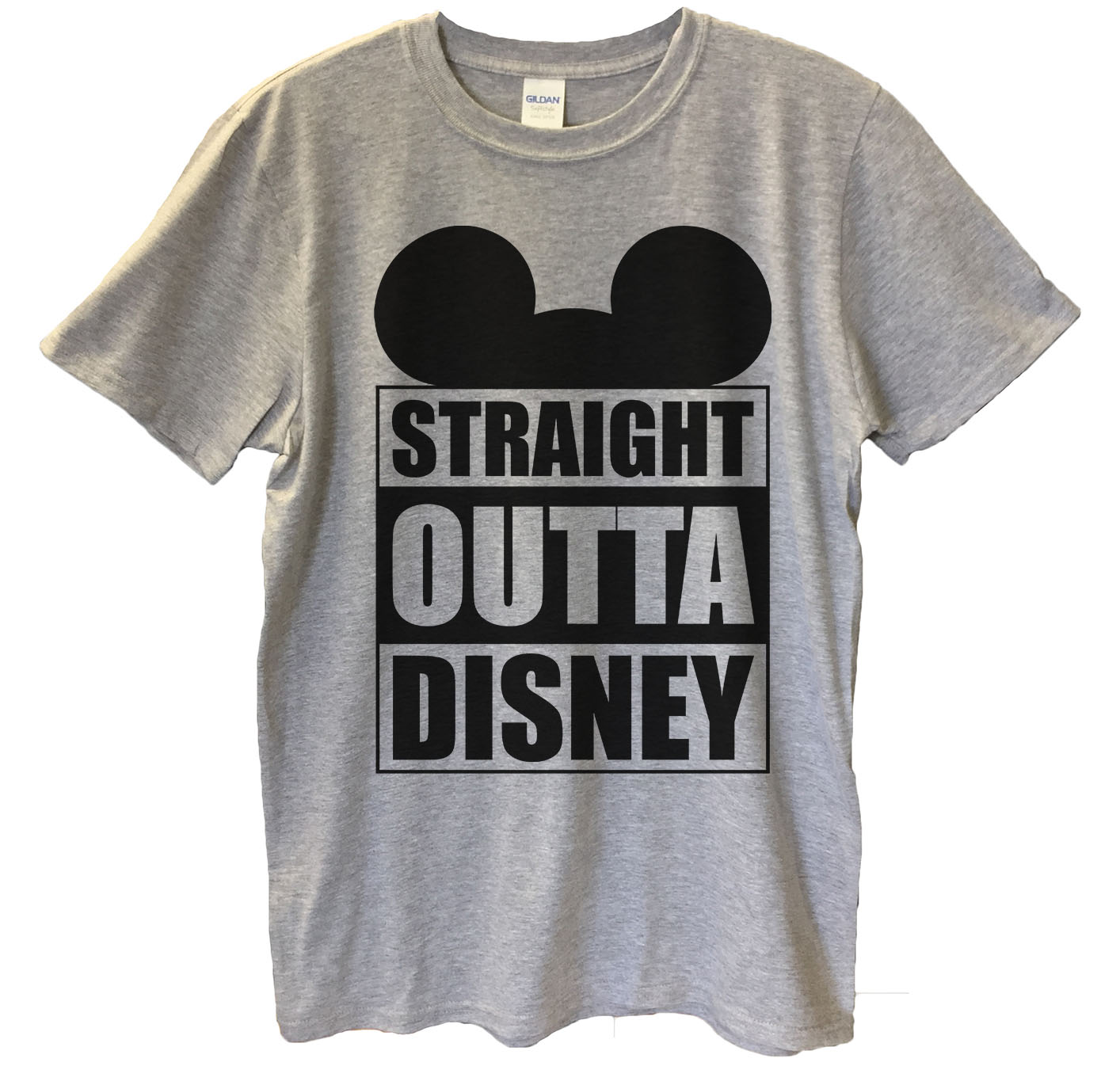 """Funny Mens Mickey Mouse T-shirt """"Straight Outta Disney"""" Funny Disney T Shirt Gift For Dad Small, North Carolina Blue"""