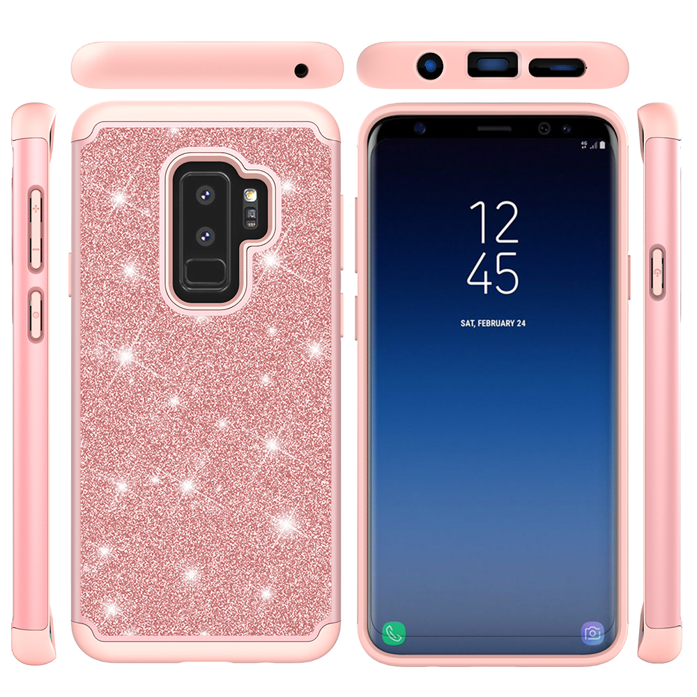 Galaxy S9 Case Glitter, Allytech Dual Layer Silicone PC Rubber Bumper Bling Heavy Duty Protective Dust Proof Impact Resistant Girls Wome Cover for Samsung Galaxy S9, Rosegold