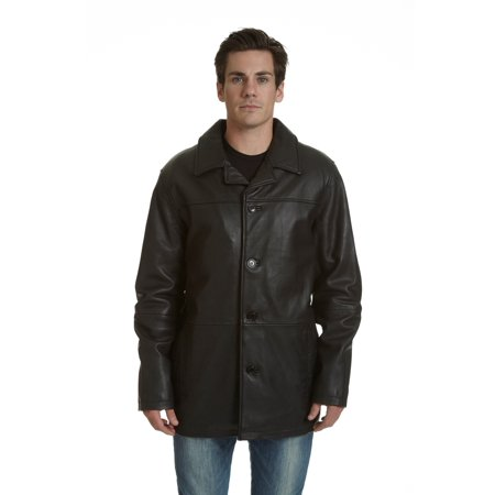 excelled men's big and tall four-button lambskin leather car coat, black, xlt
