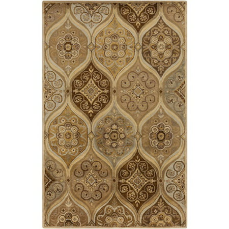 3.25' x 5.25' Moroccan Splendor Gold Yellow, Chocolate and Sandy Brown Wool Area Throw Rug