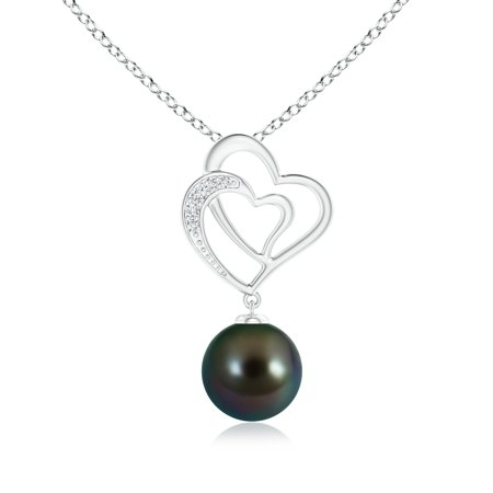 Mother's Day Jewelry - Tahitian Cultured Pearl Entwined Heart Pendant in 14K White Gold (9mm Tahitian Cultured Pearl) - SP0927THPRD-WG-AAAA-9