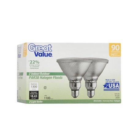 Great Value Par38 Halogen Flood Light Bulbs 70w 90w Equivalent 2 Count