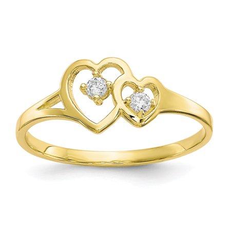 10K Yellow Gold Women's Cubic-Zirconia Double Heart Ring, Size 6 10k Double Heart Ring