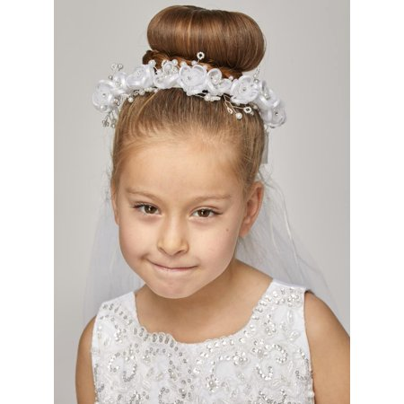 Girls White Pearl Flowers Rhinestone Crown Flower Girl Communion Veil - Flowers And Veil