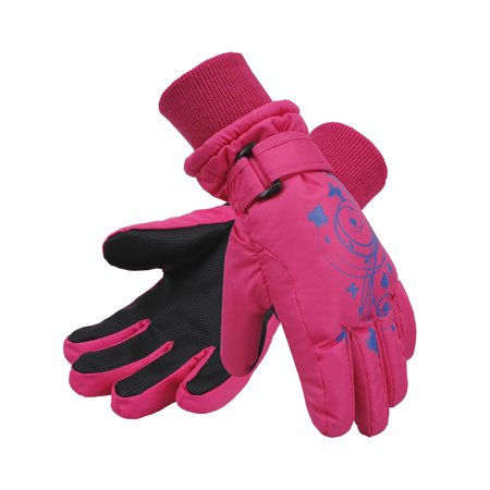 Girl's Thinsulate Lined Waterproof Winter Snowboard Ski Gloves,Pink S