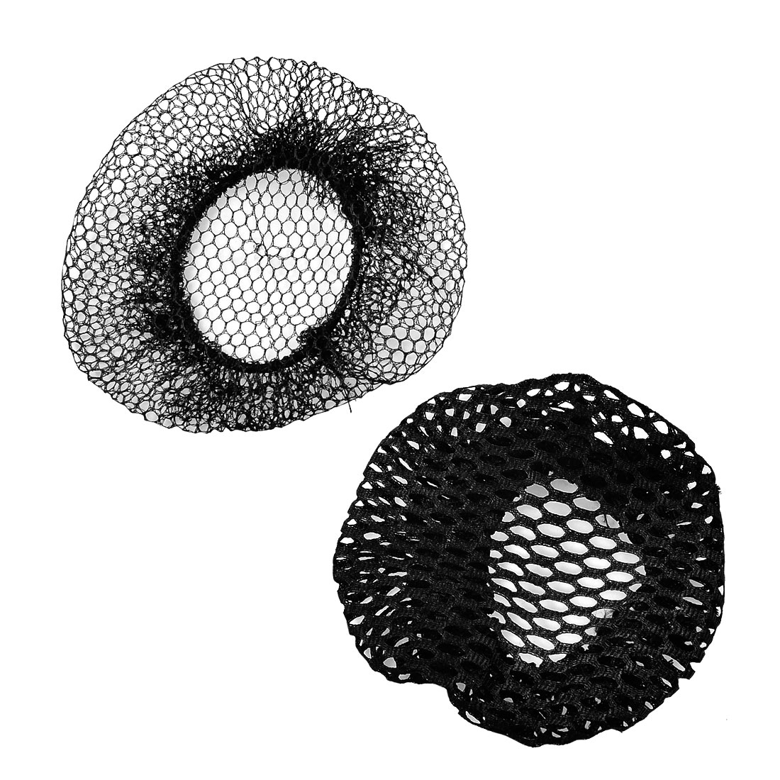 Unique Bargains 2 Pcs Black Mesh Dance Skating Snoods Hair Net Bun Cover for Women