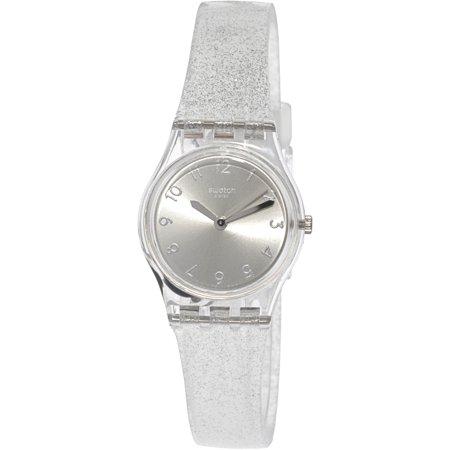Swatch Women's Silver Glistar LK343E Clear Silicone Swiss Quartz Dress Watch ()