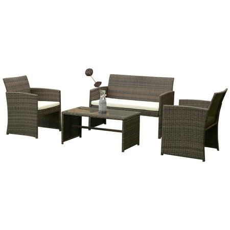 Topbuy 4 PCS Outdoor Rattan Wicker Furniture Set Sofa Table Cushioned Patio Garden ()