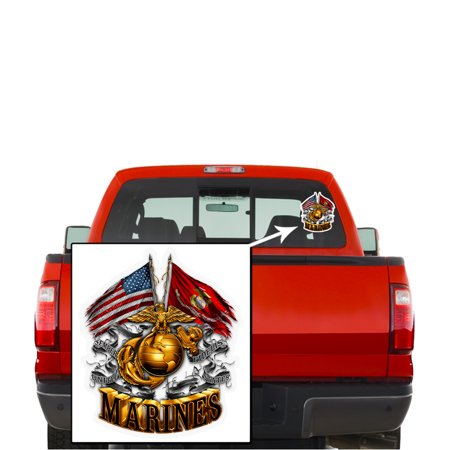 (Marine Corps Decals, Show Your Pride with our DOUBLE FLAG GOLD GLOBE MARINE CORPS Patriotic Decals, Perfect for Your Kitchen, Car, Wall or Bike, Gifts for Marines)