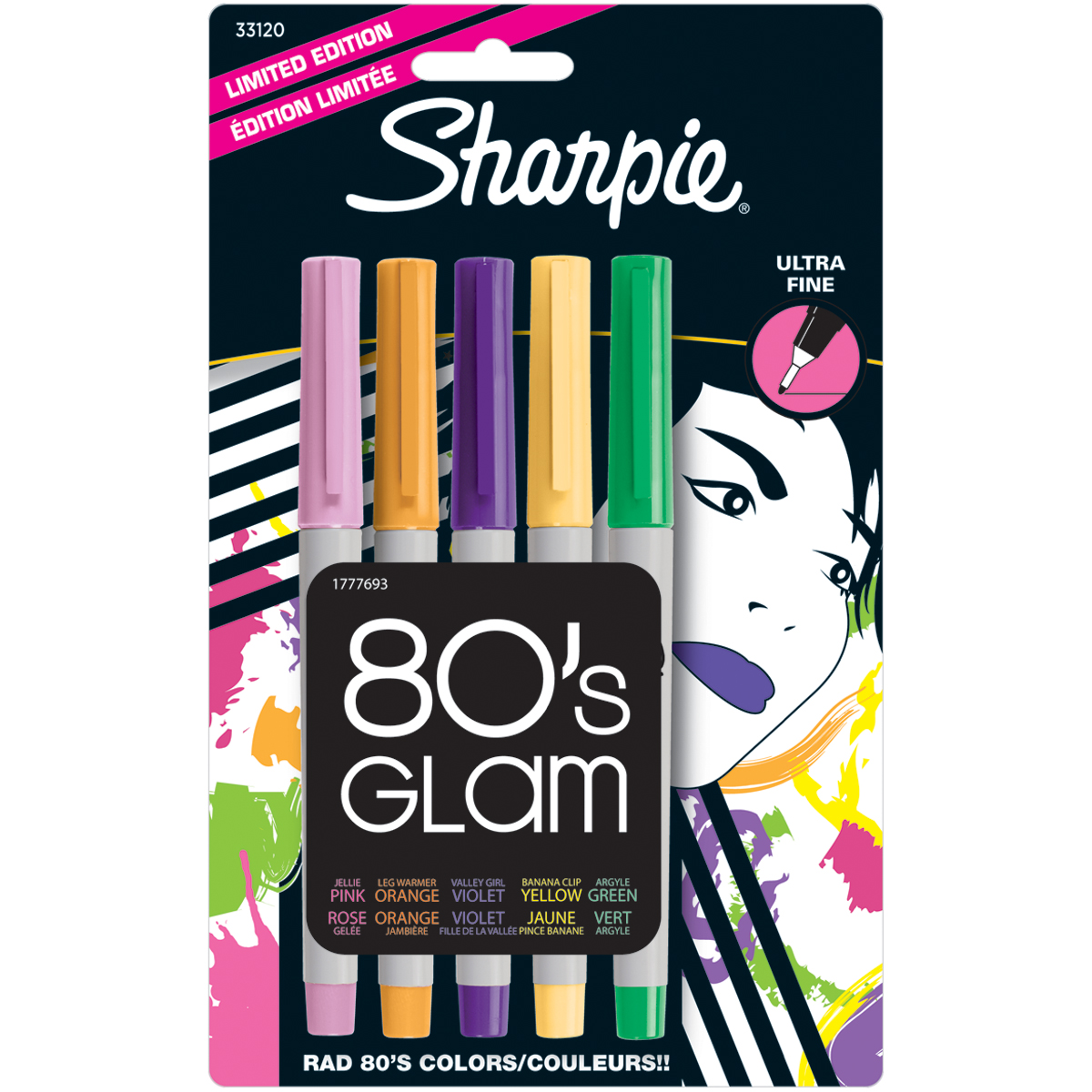 Sanford 80's Glam Assorted Colors Ultra Fine Point Permanent Markers, 5 pack