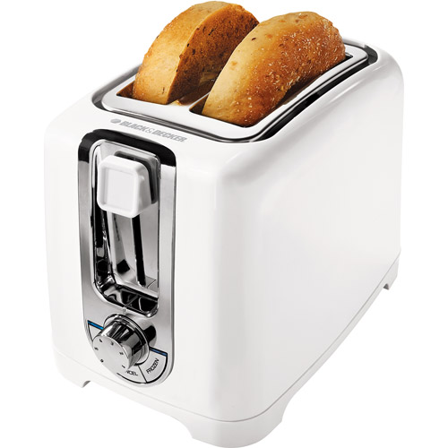 Black & Decker 2-Slice Toaster with Bagel Function, White