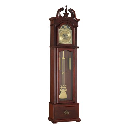 Acme Furniture Valentine Grandfather Clock, Cherry Curio Cabinet Floor Clock