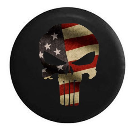 Vintage American Flag Patriot Punisher Skull Spare Tire Cover for Jeep RV 33 Inch (Skull Jeep Tire Cover)