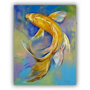 "ArtWall Michael Creese ""Orenji Butterfly Koi"" Art Appeals Removable Wall Art"