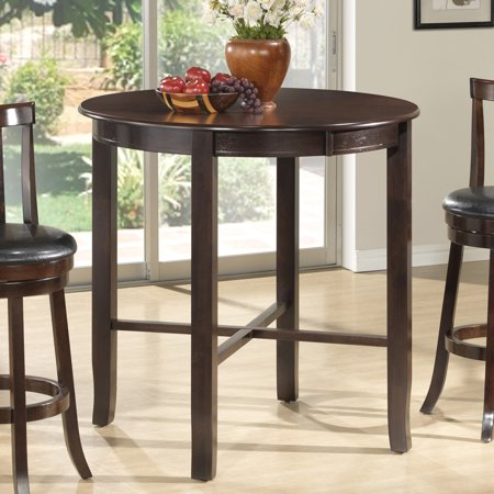 Monarch specialties cappuccino ash veneer 42 inch diameter bar height dining table - Inch diameter dining table ...