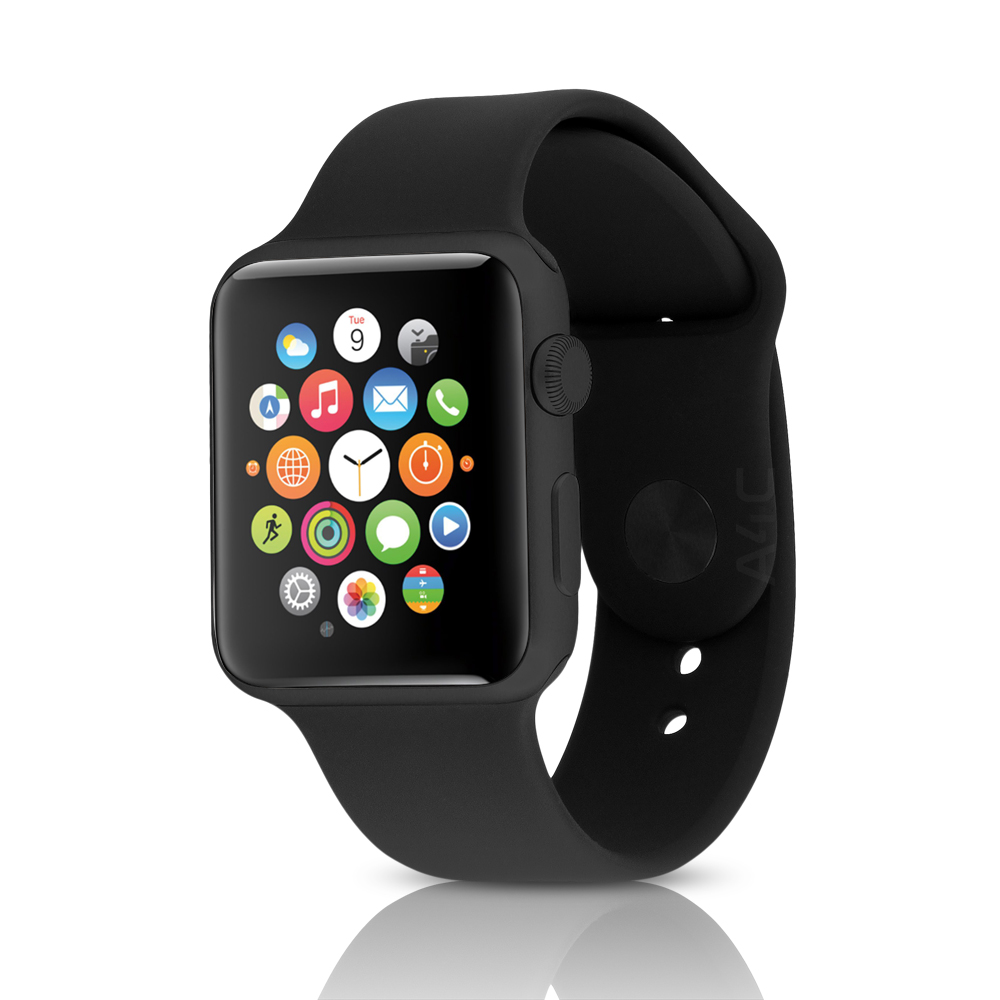 Apple Watch Sport 42mm Black Aluminum Case W' Black Sport Band (Refurbished)