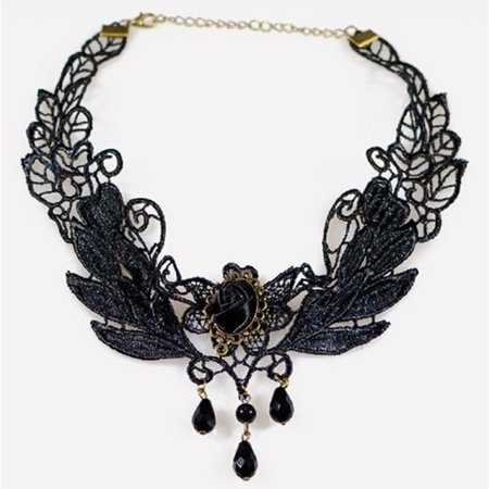 Women Water Droplets Hollow Lace Collar Choker Necklace with Bead Decoration