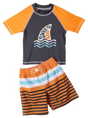 IXtreme Boys' 4-7 Rash Guard & Swim Trunks, 2-Piece Stripe Swim Set