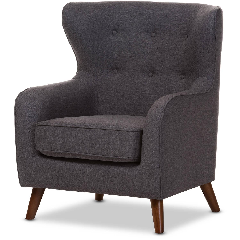 Baxton Studio Ludwig Mid-Century Modern Dark Gray Fabric Upholstered Walnut Wood Button-Tufted Armchair by Baxton Studio