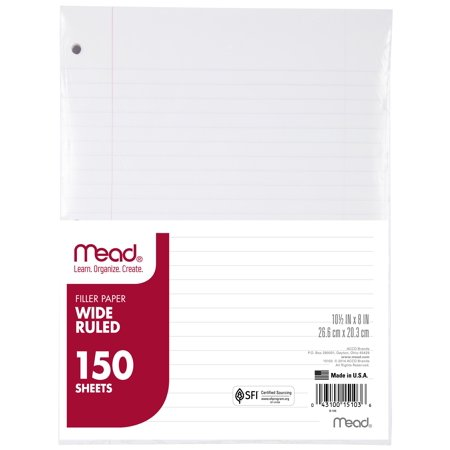 Personal Ruled Notepaper - Mead Filler Paper, Wide Ruled, 150CT