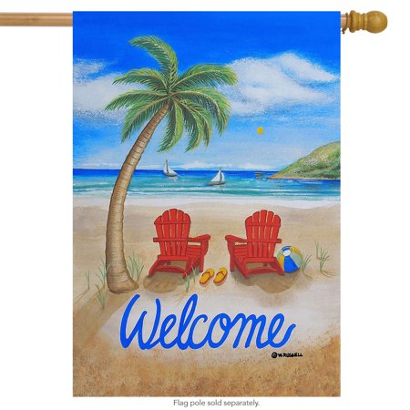 Adirondack Flag (Beach Summer House Flag Tropical Island Palm Tree Adirondack Chairs 28